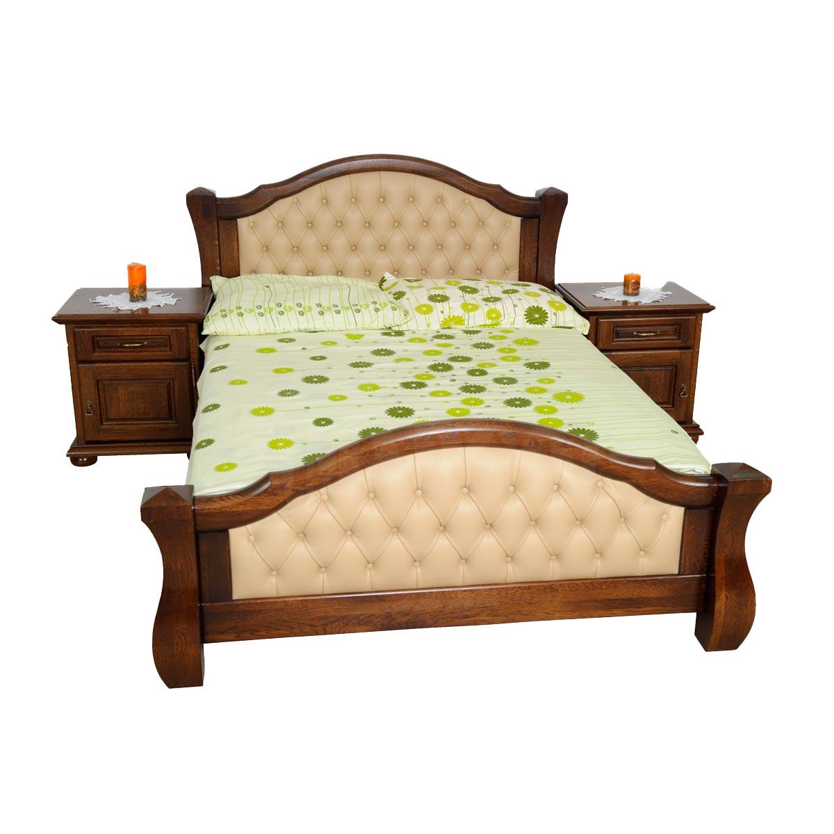 Dubová kožená postel Major 185 cm x 225 cm