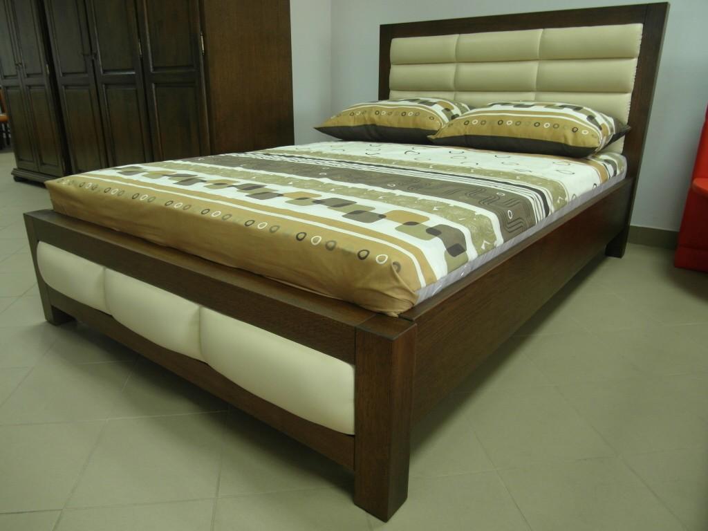 Dubová kožená postel Dion
