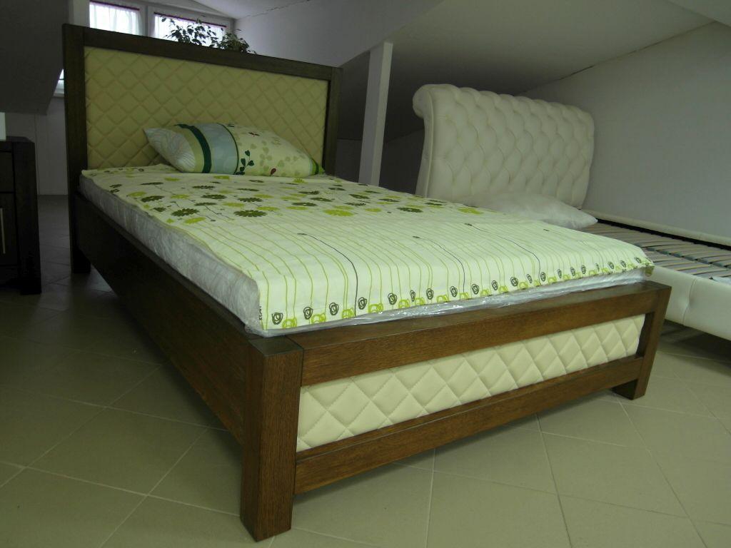 Dubová kožená postel Dion mřížka