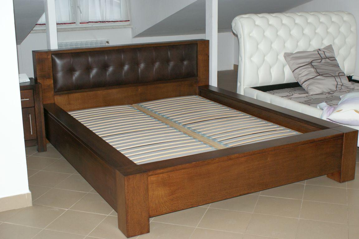 Dubová kožená postel Boss II