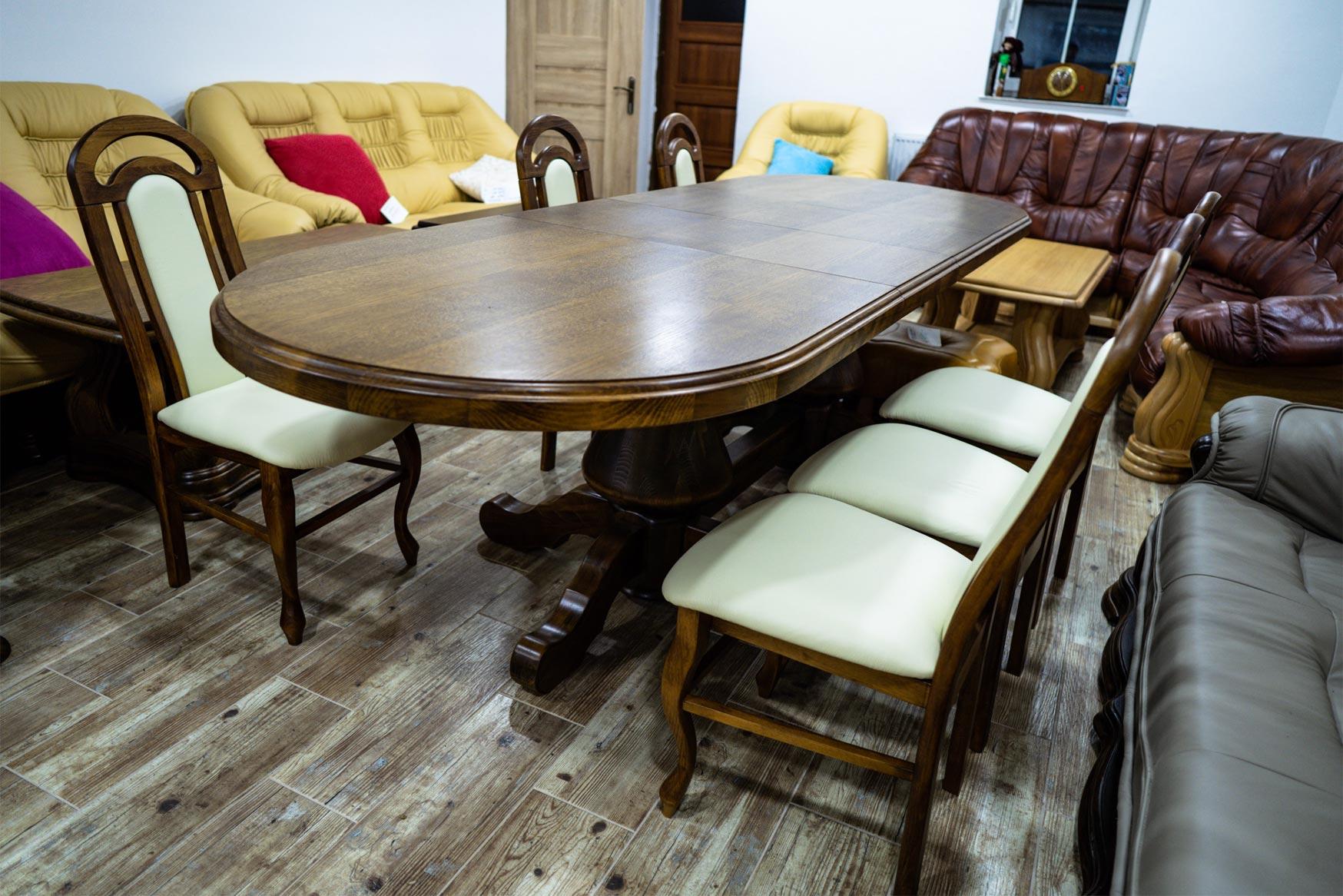 Oválný dubový stůl Gryzli