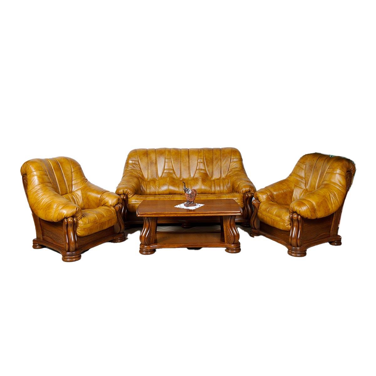 Kožená sedací souprava Felicie - zlatá